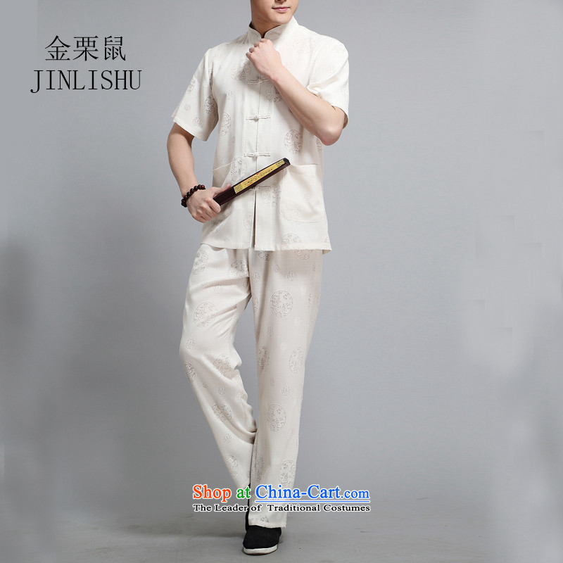 Kanaguri mouse summer men Tang dynasty male short-sleeve packaged in older father installed China wind ball-han-m White?L