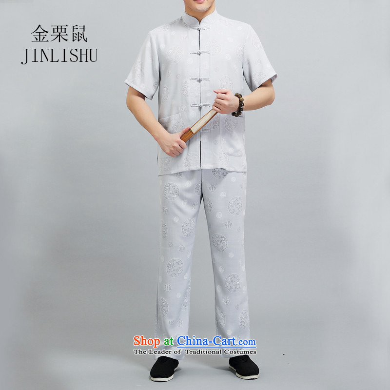 Kanaguri mouse summer men Tang dynasty short-sleeve kit Chinese national wind in leisure older Han-Tang dynasty聽XXXL Light Gray
