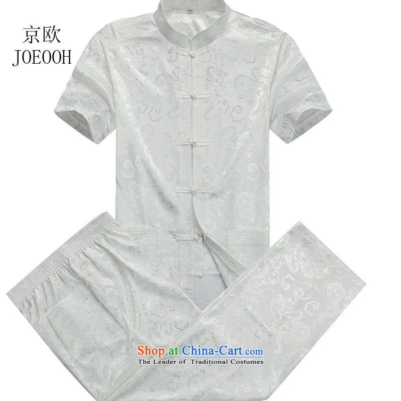 Beijing Summer Han-Europe, low short-sleeved Tang Dynasty Package for older men are large Chinese shirt, beige聽XXXL_190 Kit