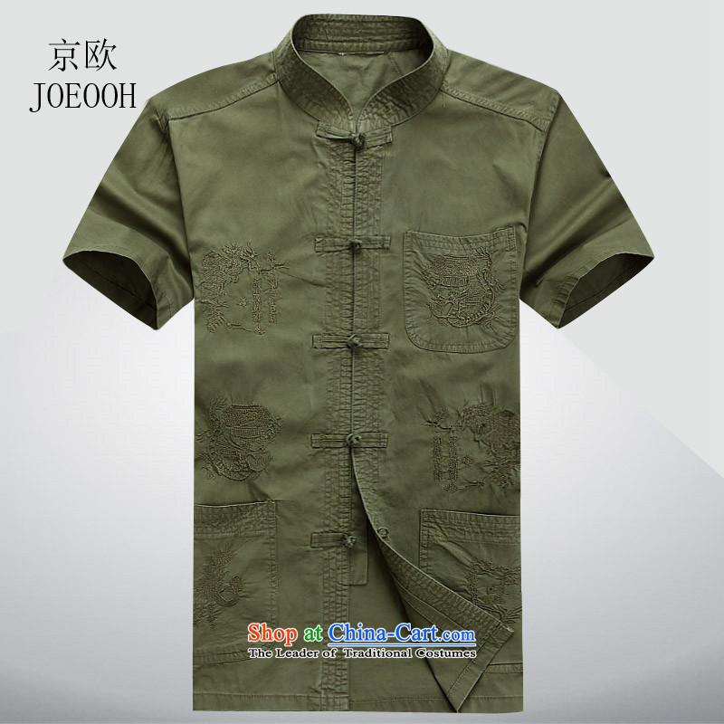 Beijing OSCE summer new middle-aged men's short-sleeved shirts in Tang dynasty China wind collar bamboo charcoal cotton short-sleeved Han-Chinese men and dark green XL/180