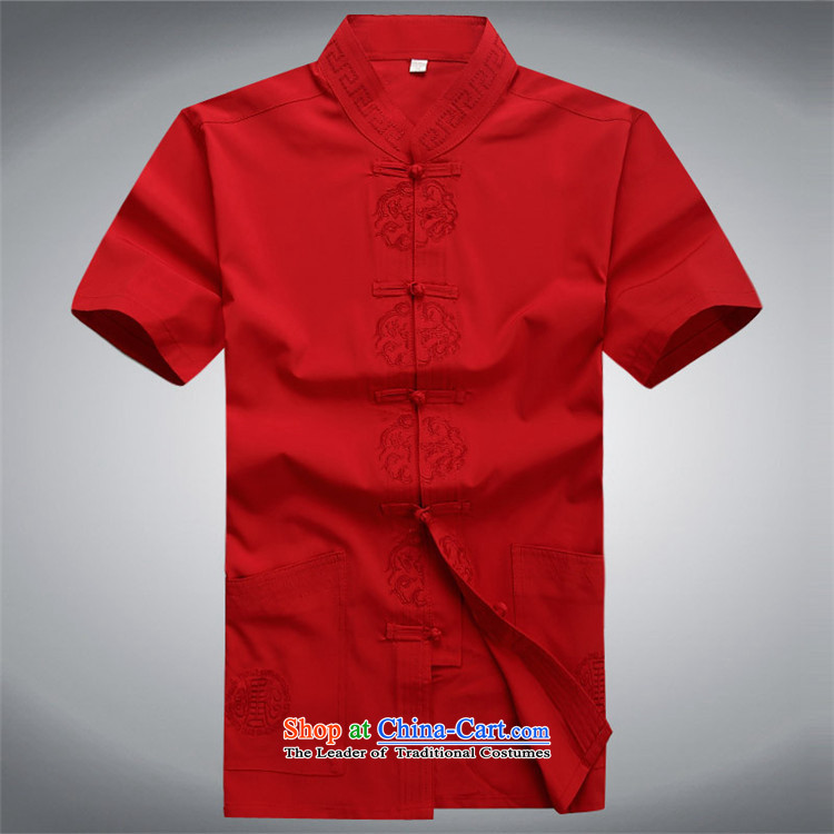 Beijing 2015 Europe China wind short-sleeved Tang Dynasty Package Installed in summer father older short-sleeved Tang Dynasty Male Red Kit L/175 picture, prices, brand platters! The elections are supplied in the national character of distribution, so action, buy now enjoy more preferential! As soon as possible.
