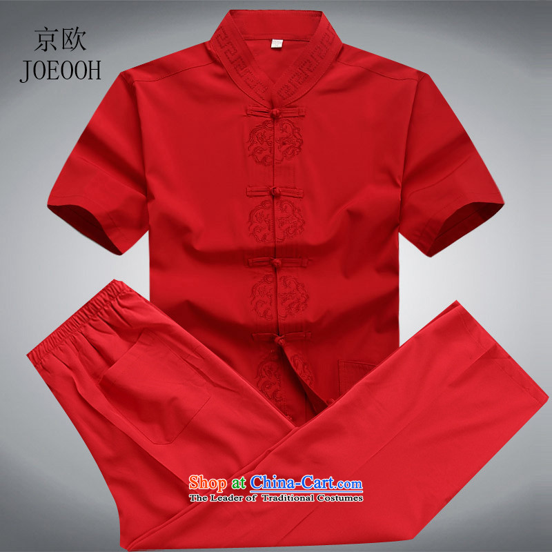 Beijing 2015 Europe China wind short-sleeved Tang Dynasty Package Installed in summer father older short-sleeved Tang Dynasty Male Red L/175 Kit