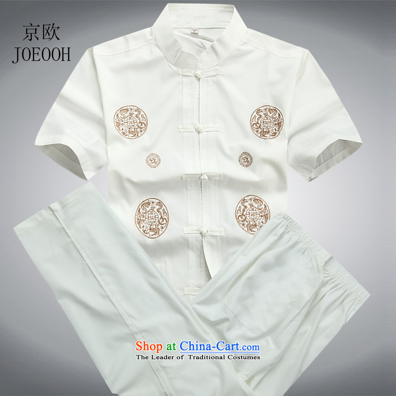 Putin in men's old Europe Tang Dynasty Package summer, short-sleeved thin, Tang dynasty white kit燲L_180 Summer