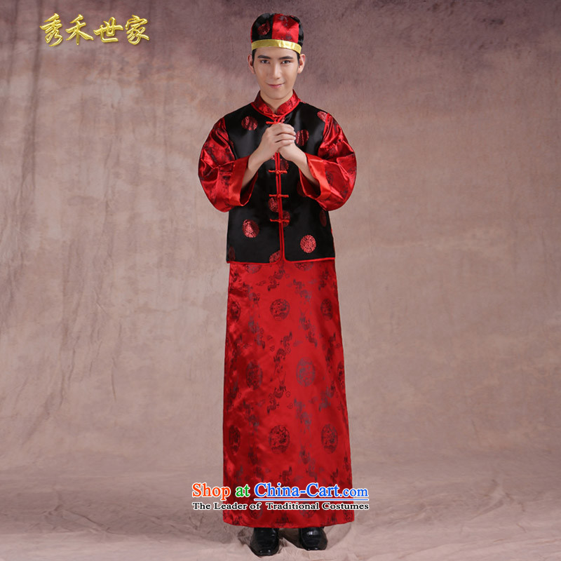 Chinese style wedding new service men married toasting champagne Ogonis dress Soo Wo Service happy marriage maximum use of ancient bridegroom three piece of red?S