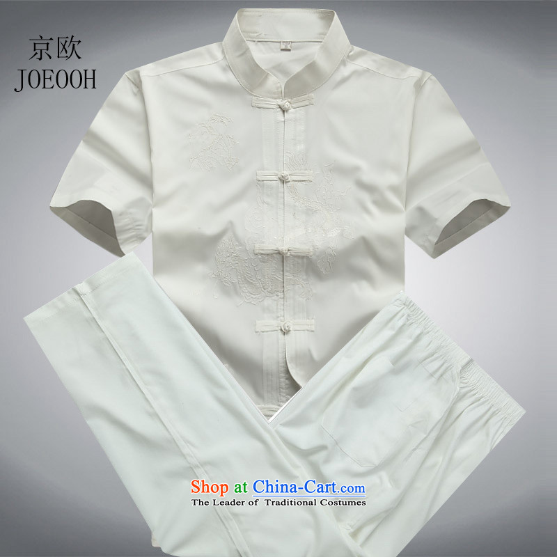 Beijing light summer of OSCE men short-sleeve packaged Men's Mock-Neck short-sleeved Tang dynasty national costume kit M_170 White