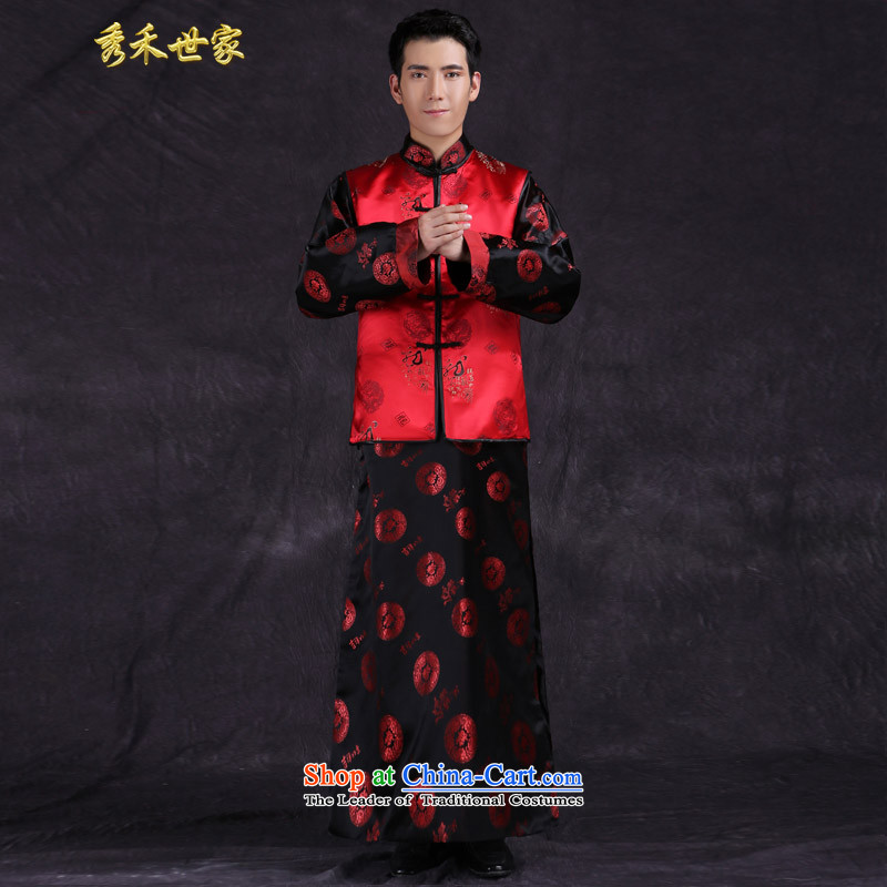 Sau Wo saga costume new Ogonis services men marry retro wedding dress clothes for men followed suit improved costume show, a maximum use of groups of three hats picture color聽L