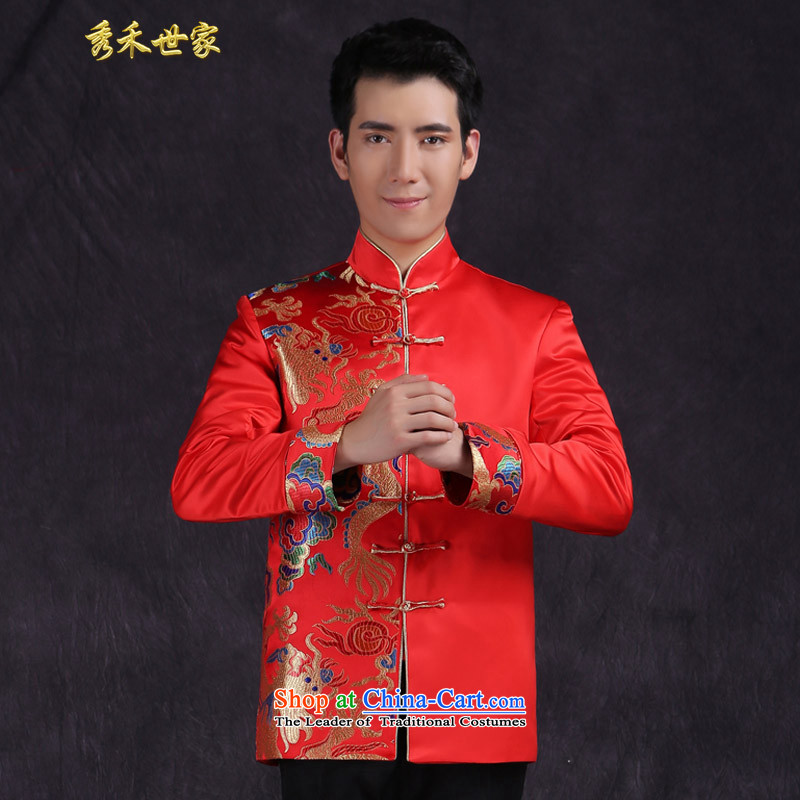 Sau Wo Saga Chinese marriage for men with the bridegroom TANG Sau Wo Service Pack summer collar warm classical-hi-marriage bows dress large red聽L