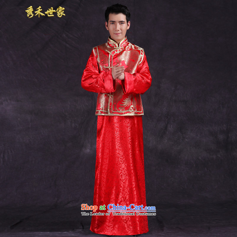 Sau Wo Men Ancient Chinese tunic, Saga Furs of red Tang Dynasty Chinese style wedding dress the bridegroom replacing wedding dress Soo-Wo Service Mr large red?S