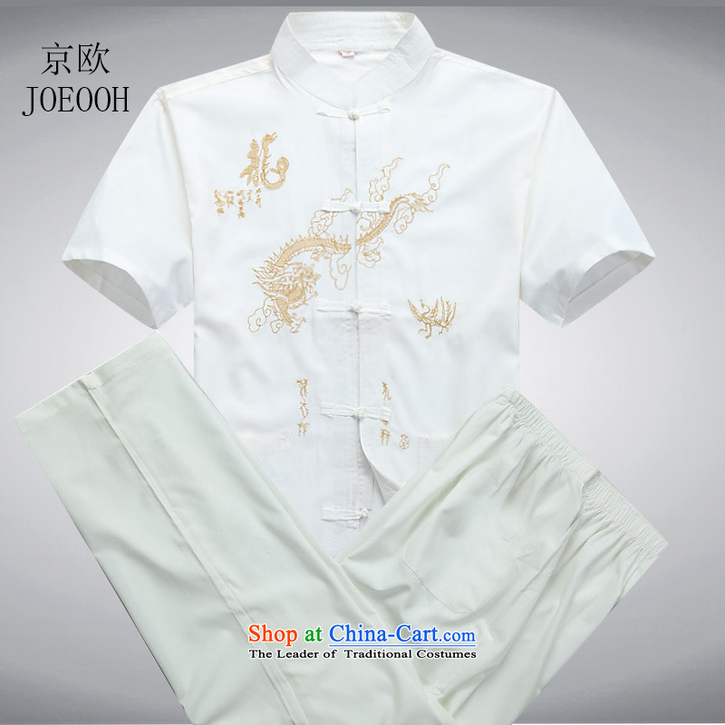 Beijing Summer Europe New Men Tang Dynasty Package for short-sleeved older ethnic Chinese shirt larger Han-men and White Kit�M/170
