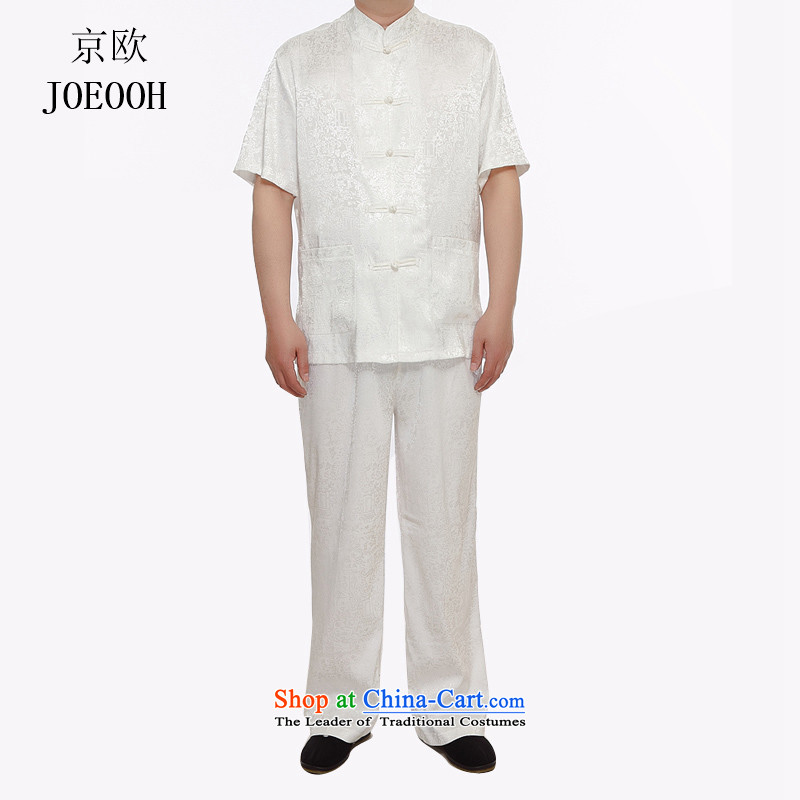 Beijing New OSCE Tang dynasty male short-sleeved Tang dynasty in older kit ethnic elderly clothes summer morning workout grandpa services white聽L