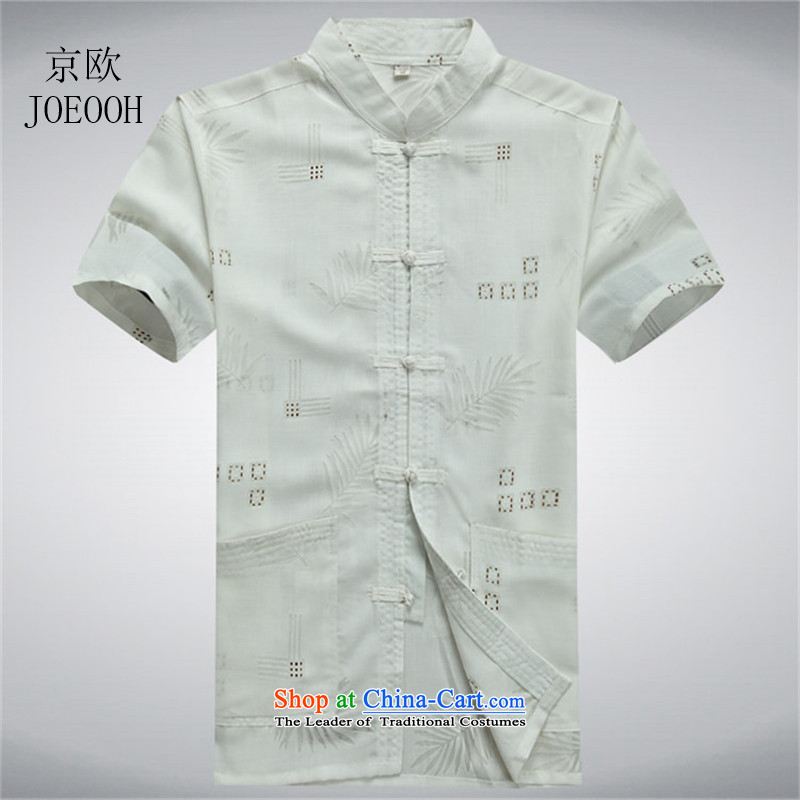 Beijing light summer of OSCE linen short-sleeved shirts in Tang Dynasty older men cotton linen leisure Chinese shirt collar half male聽XL_180 White