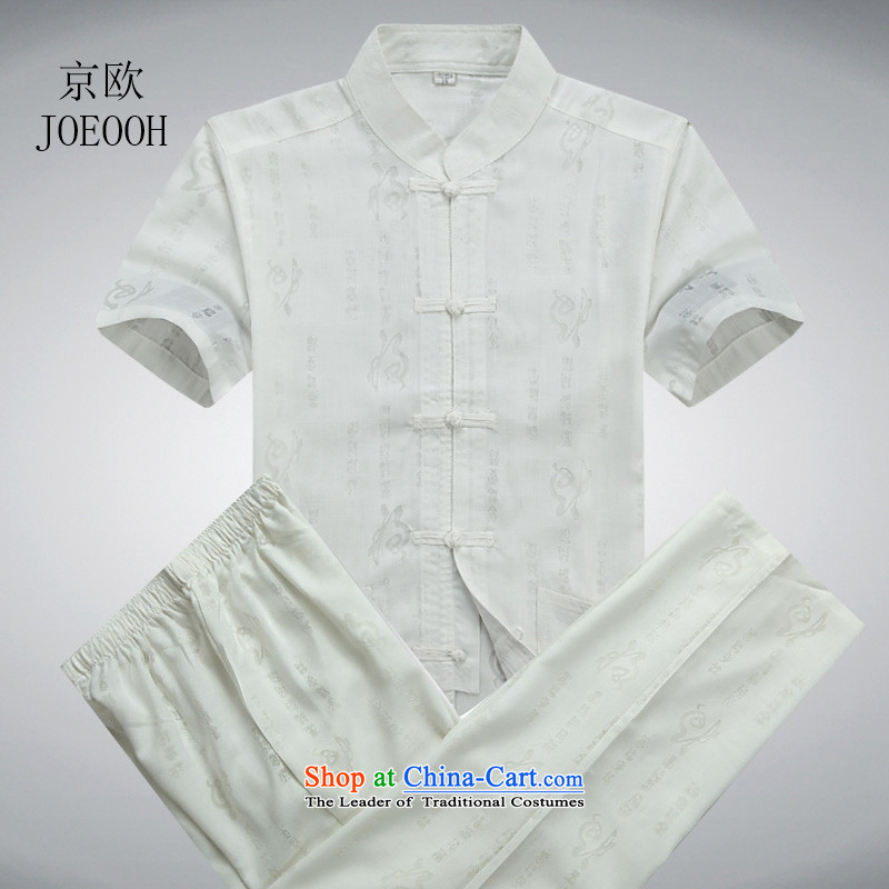 The elderly in the Europe of the Kyung-men cotton linen short-sleeved Tang Dynasty Package China wind load father summer White Kit?L_175