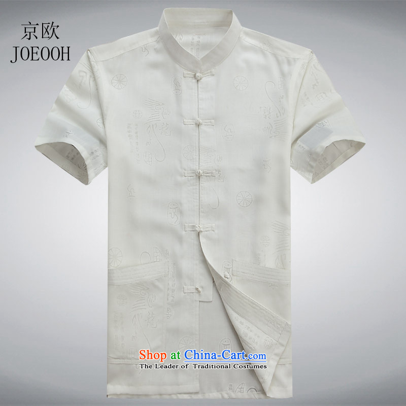 Beijing Europe China wind summer linen dragon short-sleeved blouses from older Tang Man Leisure Chinese cotton linen white shirt?M/170