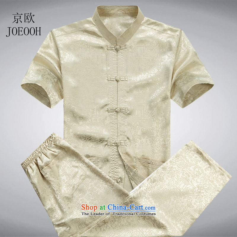 Beijing New European men Tang dynasty short-sleeve packaged along the River During the Qingming Festival  Chinese men's shirts, summer clothing men China wind gold聽XXL_185 Kit