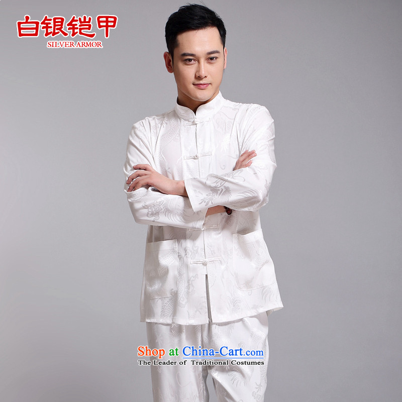 Silver armor men Tang Dynasty Package for men and elderly men's long-sleeved summer China wind men silk father Summer Load Bundle White聽170
