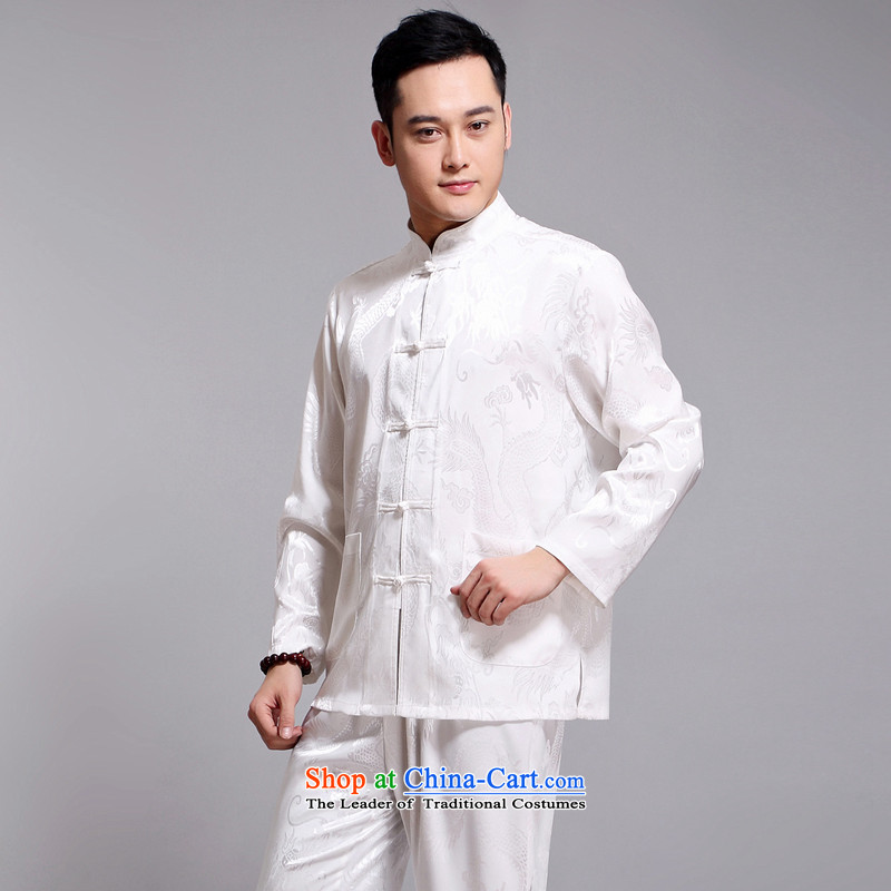 Silver armor men Tang Dynasty Package for men and elderly men's long-sleeved summer China wind men silk father summer load bundle white聽170, silver Armor , , , shopping on the Internet