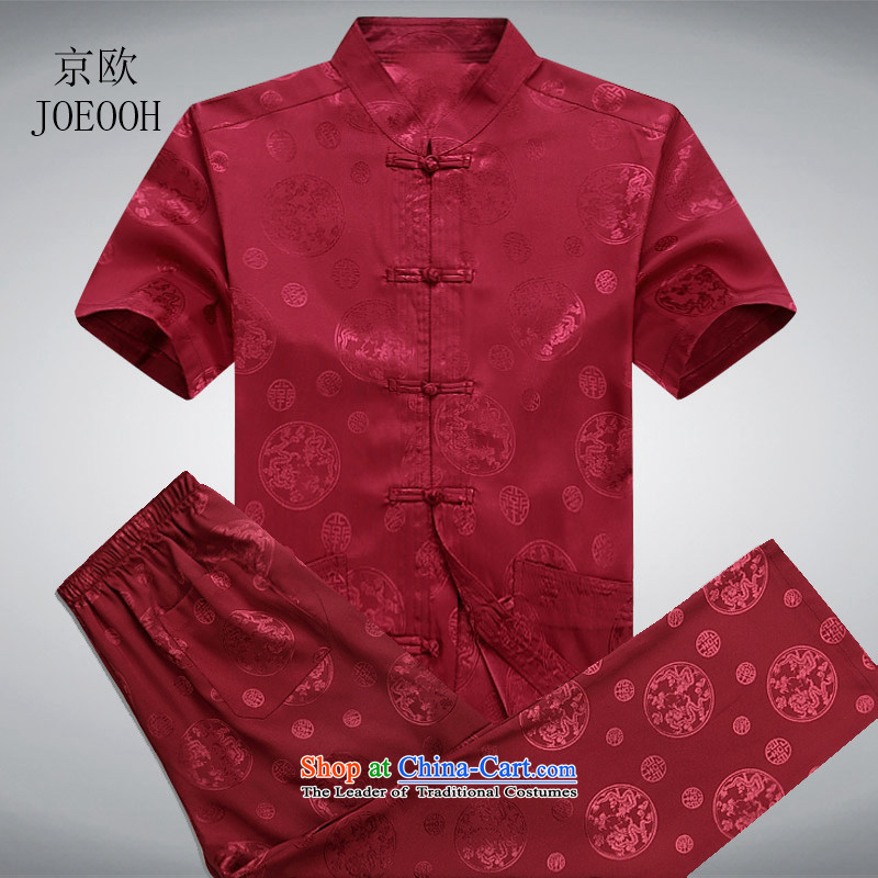 Beijing New Europe national short-sleeved Tang Dynasty Package Chinese leisure larger men's shirts summer red S/165 Tang Dynasty