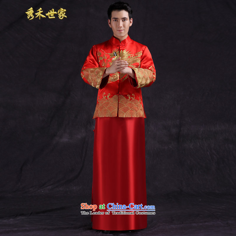 Sau Wo Saga Chinese wedding services Tang Dynasty Show Wo Service costume, men's wedding dress red groom services-style robes Tang Dynasty Large red聽S