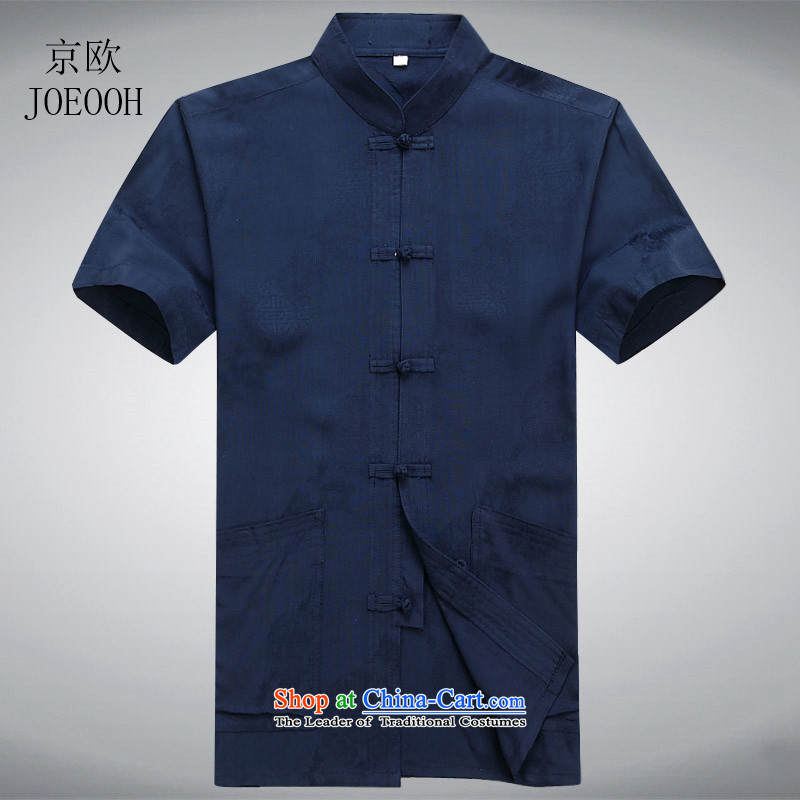 Beijing OSCE Tang dynasty short-sleeved men Han-men in Tang Dynasty Older ethnic Tibetan blue?S/165 Clothing