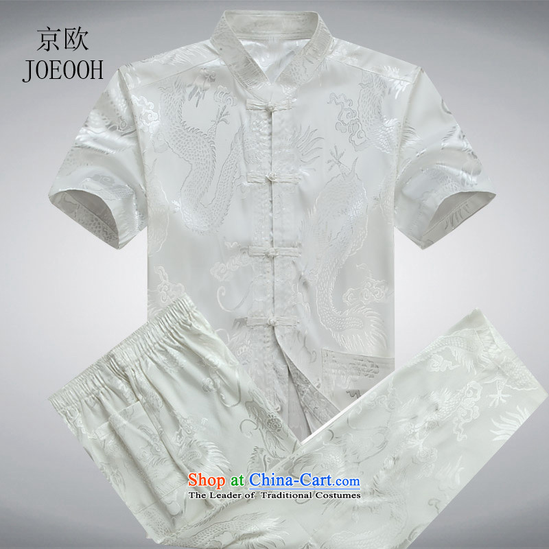 Beijing OSCE men Tang Dynasty Package men of older persons in the father of ethnic replace short-sleeved China wind and Tang dynasty summer White Kit聽XL_180