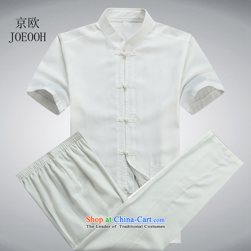 Beijing Europe Tang dynasty male short-sleeved Tang Dynasty Package cotton linen, older men national Han-ball-shirt father summer Services White Kit?XXXL/190