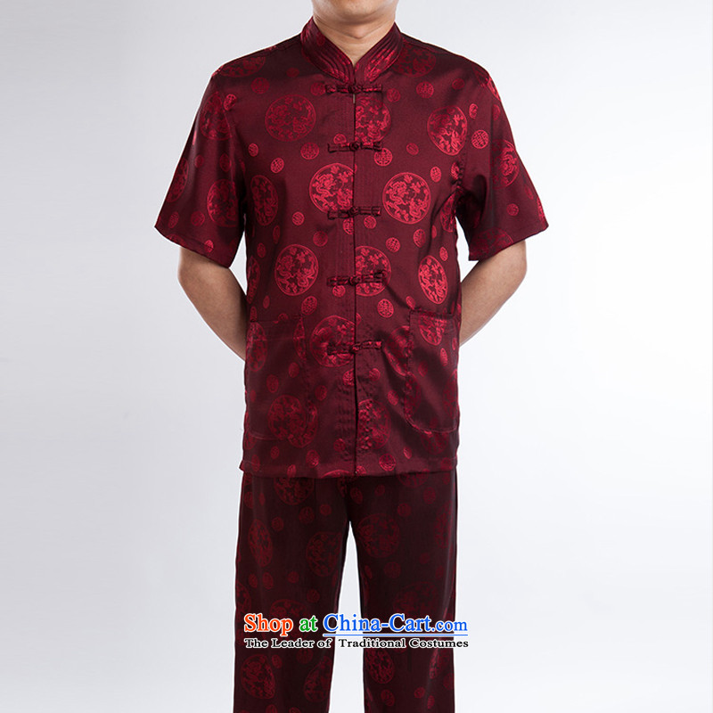 Mr Ronald New China wind ascendant of the Tang dynasty jogs men short-sleeve packaged upmarket older along the River During the Qingming Festival  of ethnic shirt red set of?165