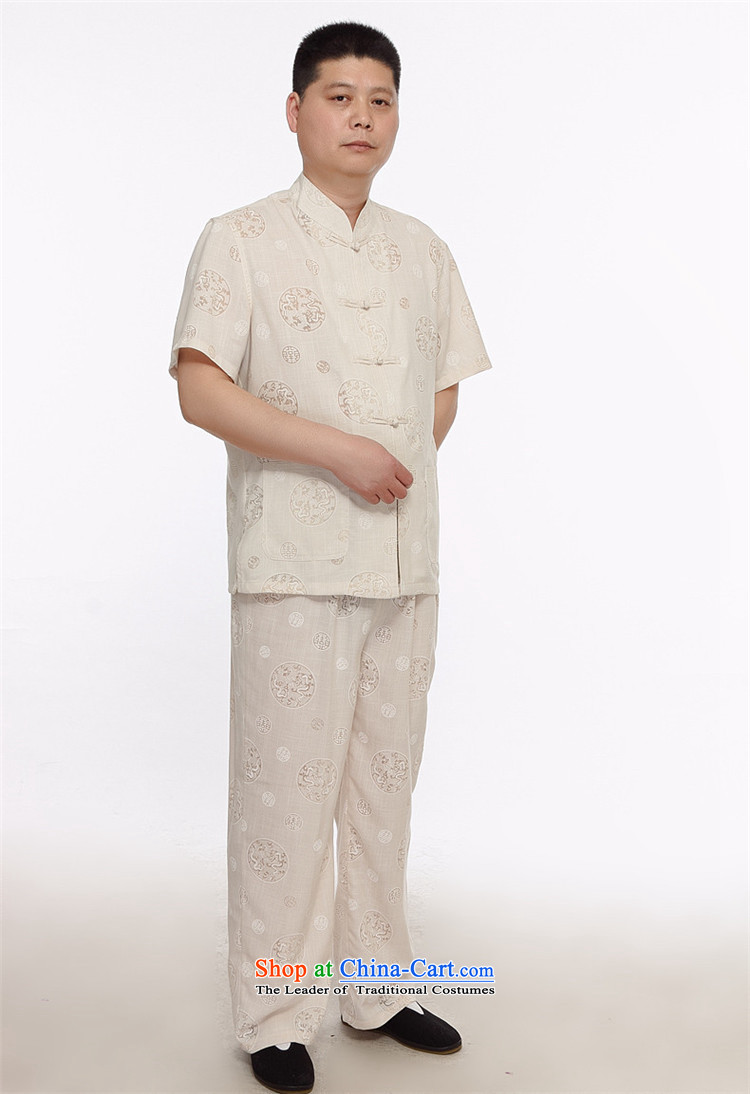 Beijing Summer in Europe older grandpa replacing short-sleeved Large Tang dynasty male kit round lung to cotton linen-Tang dynasty linen package beige L picture, prices, brand platters! The elections are supplied in the national character of distribution, so action, buy now enjoy more preferential! As soon as possible.