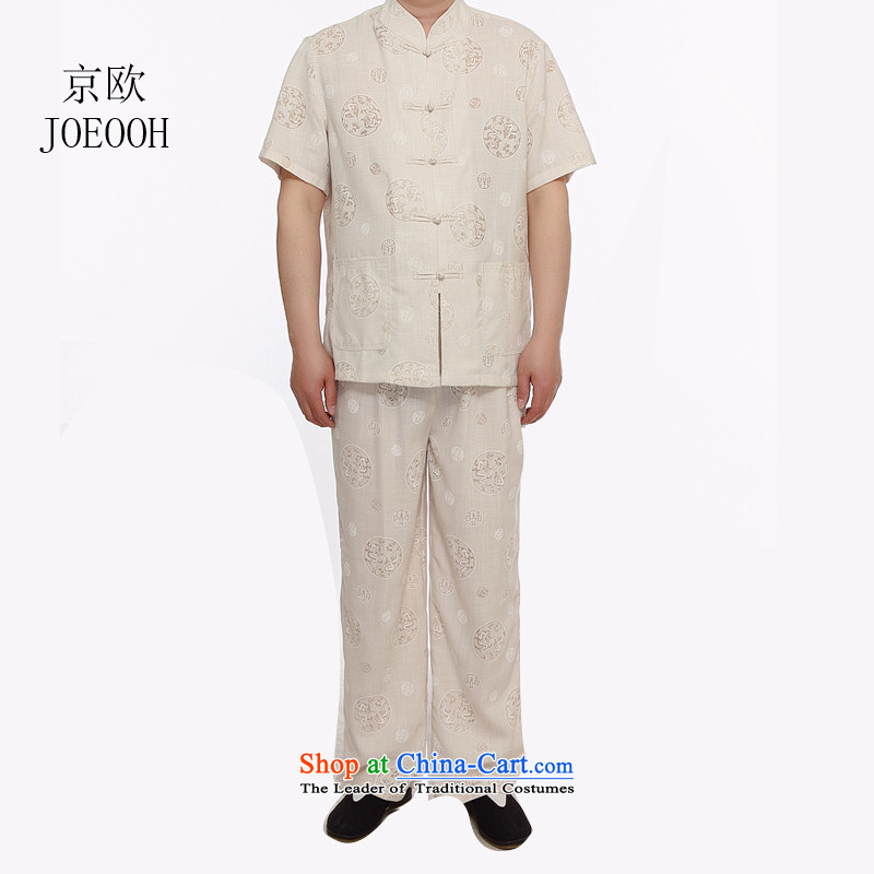 Beijing Summer in Europe older grandpa replacing short-sleeved Large Tang dynasty male kit round lung to cotton linen-Tang dynasty linen package beige聽L
