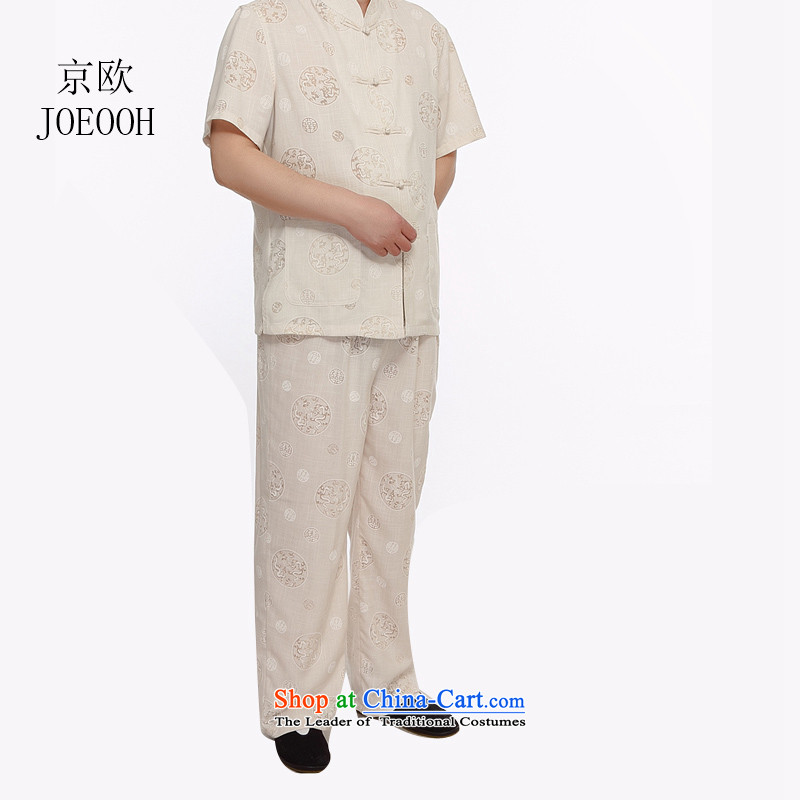 Beijing Summer in Europe older grandpa replacing short-sleeved Large Tang dynasty male kit round lung to cotton linen-Tang dynasty linen package beige , L, Putin (JOE OOH) , , , shopping on the Internet