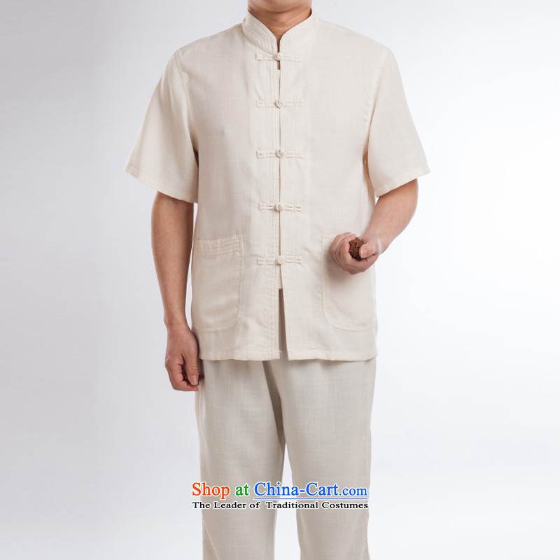 2015 New Products Linen Tang dynasty male Kit Tang dynasty China wind male short-sleeved summer manually drive Chinese national costumes beige detained a聽185