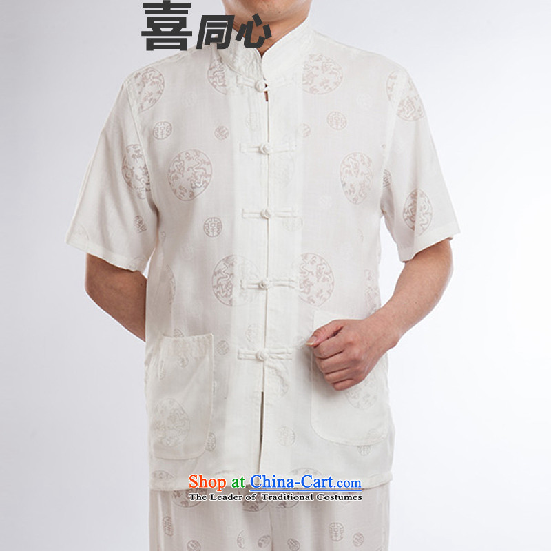 2015 New Tang Dynasty Xia Men's older cotton linen Tang Dynasty Short-Sleeve Men father boxed White 185