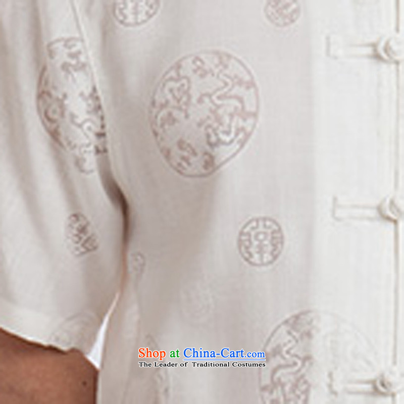 2015 New Tang Dynasty Xia Men's older cotton linen Tang Dynasty Short-Sleeve Men with white聽185 Hi Dad concentric , , , shopping on the Internet