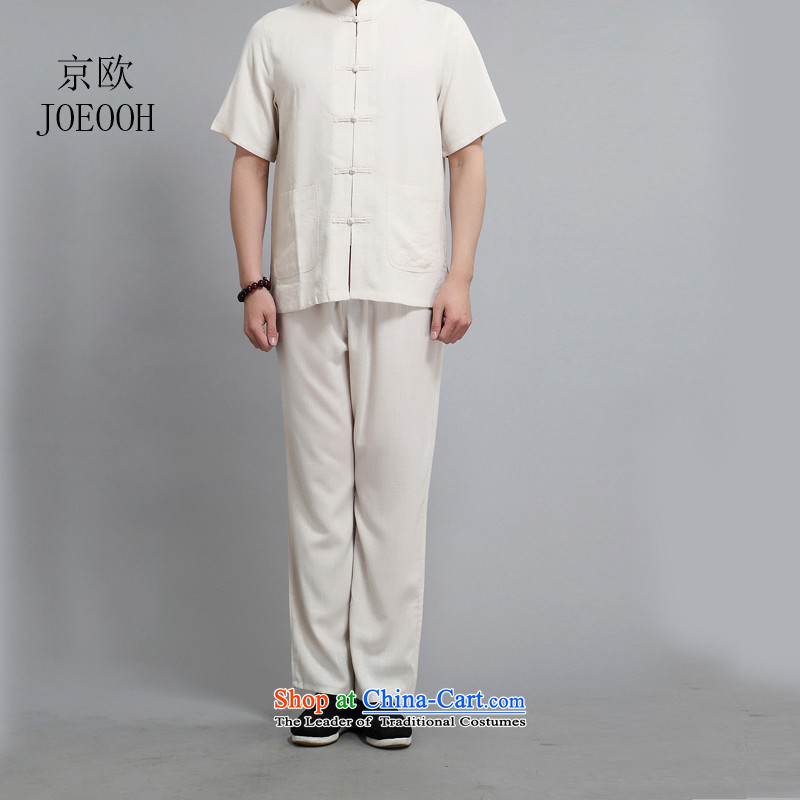 Beijing light summer of OSCE cotton linen short-sleeved shirt Tang dynasty China wind in older men casual manually disc detained聽XXXL_185 Beige