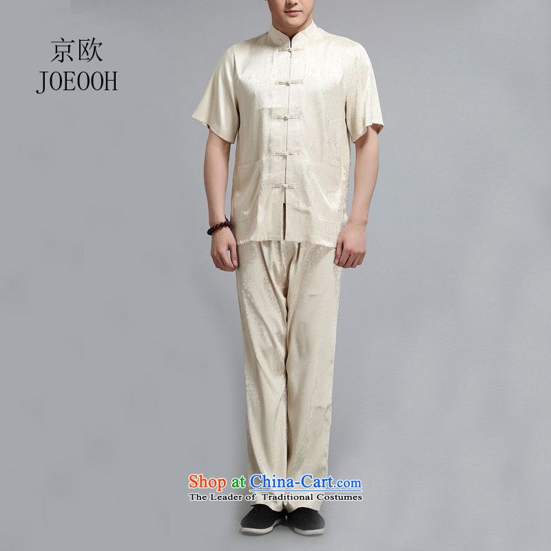 Beijing Summer in the new European older men short-sleeve kit Chinese Tai Chi services national costumes�4XL/190 Gold