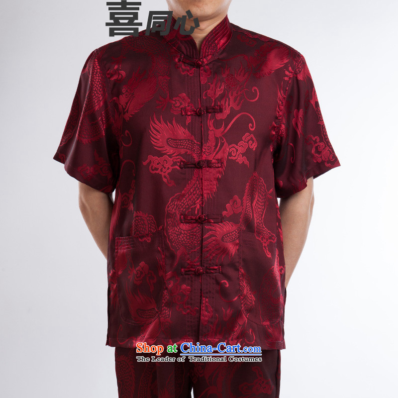 The spring and summer of 2015, replacing men Tang dynasty short-sleeved T-shirt, Tang dynasty older men and national costumes Red 175