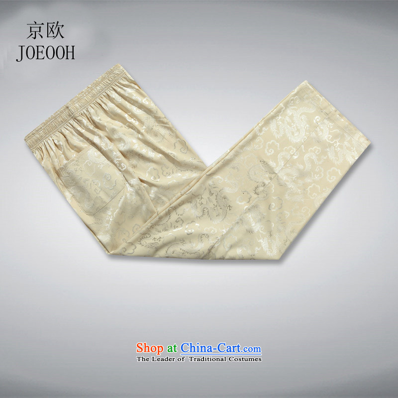 Beijing Europe Tang dynasty and Tang dynasty summer pants men beige pants XL