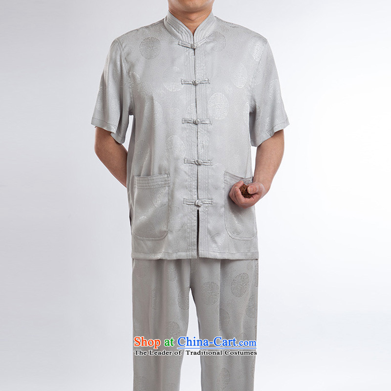 Tang Dynasty men in summer older Chinese shirt silk short-sleeved disc collar gray set of detained?180