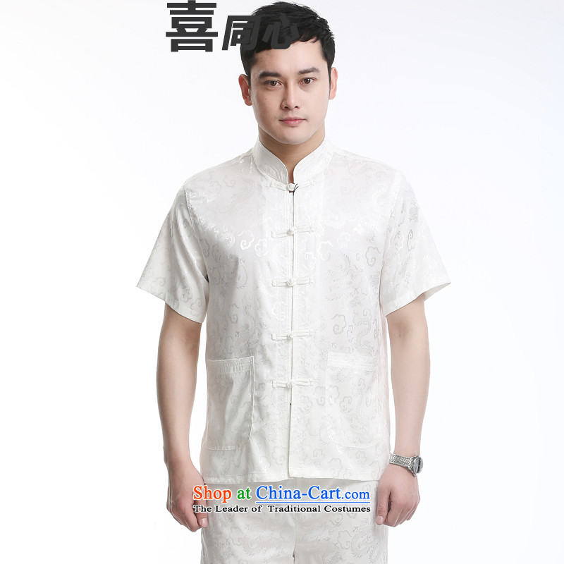 The new package Tang dynasty men's short-sleeved summer, Tang dynasty men short-sleeved silk auspicious figure advanced silk, Yunlong White聽175
