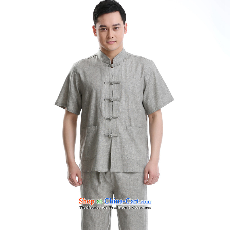 2015 Summer short-sleeved cotton linen men Tang Dynasty Chinese Mock-neck shirt, gray set of Sau San small?175
