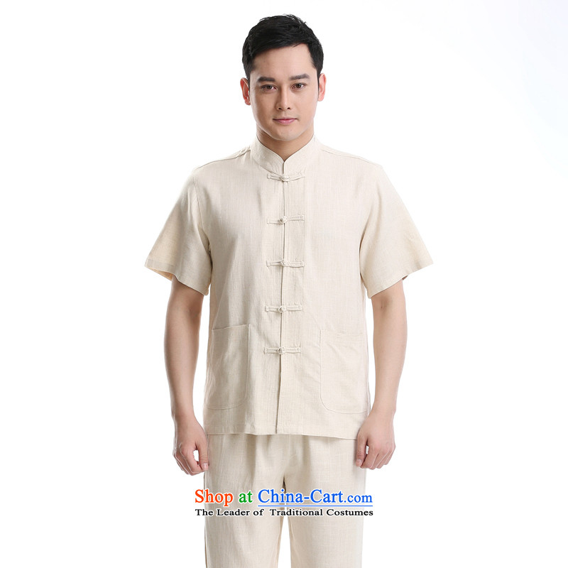 In 2015 a new summer, older men, short-sleeved Tang Dynasty Han-leisure liberal Chinese tunic collar men Tang Dynasty Package Set of beige 175