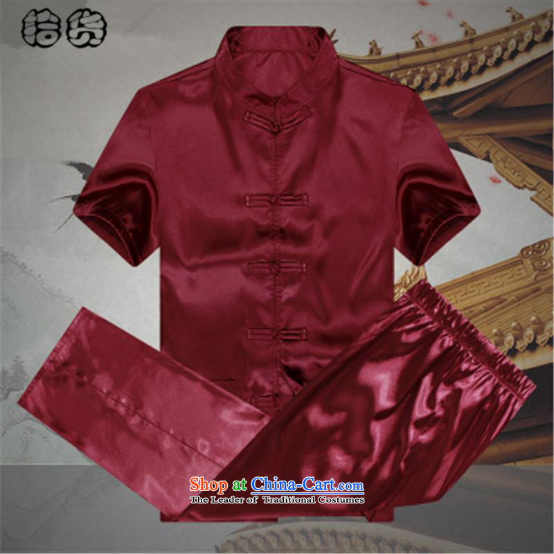 Hirlet Ephraim men_ 2015 Mr Ronald Tang Dynasty Package summer short-sleeved emulation silk of older persons in the elderly men's father and grandfather Tang dynasty China wind summer Red 170
