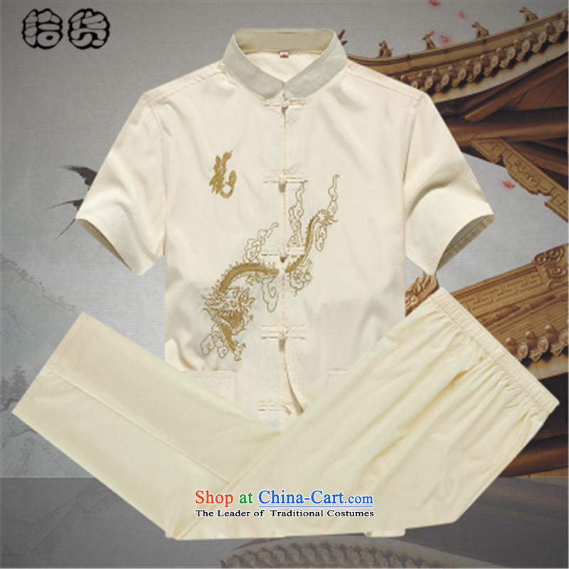 Hirlet Ephraim, Han-summer 2015, summer men Tang Dynasty Package short-sleeved older people in large Cotton Men father shirt grandpa summer beige�170