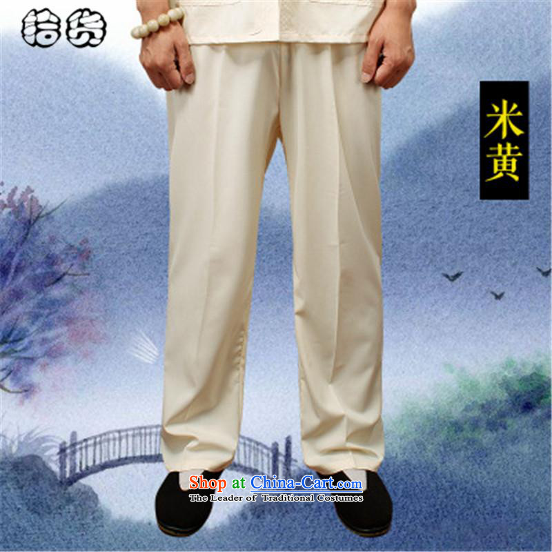 Hirlet Ephraim summer 2015, older men's new book, the summer short pants older persons tai chi elastic solid color Large pant practitioners beige trousers聽XXL