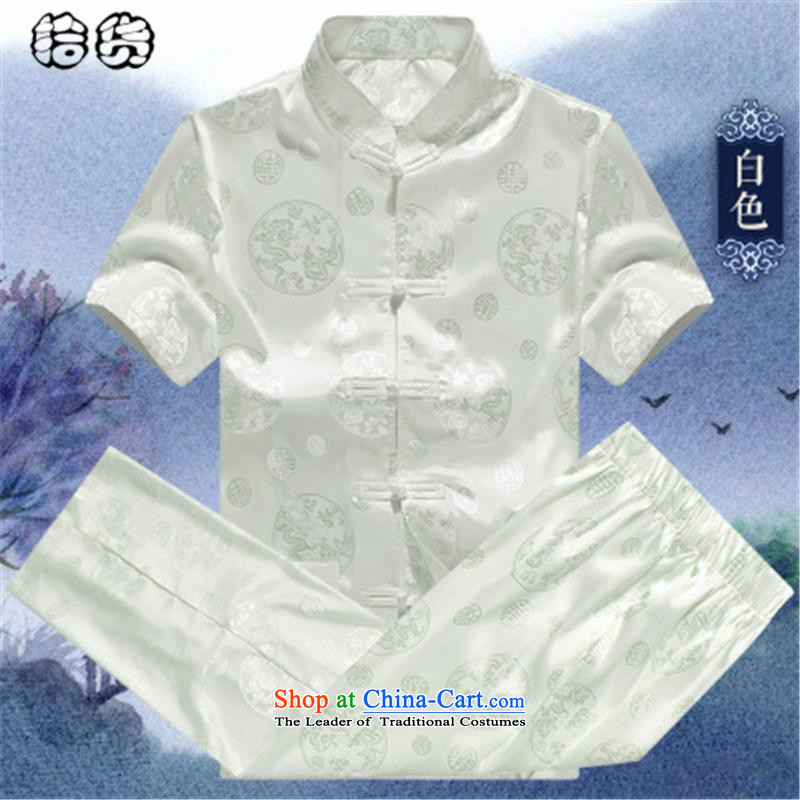 Hirlet Ephraim summer 2015, older men disc detained national dress China wind emulation herbs extract package Mock-neck improved leisure short-sleeved temperament Tang Dynasty Summer White 185