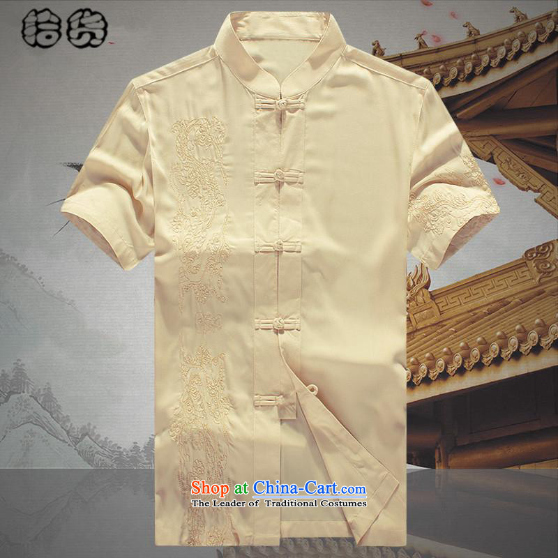 Hirlet Ephraim Summer 2015_ older short-sleeved Tang dynasty male summer men summer Chinese embroidery national costumes grandpa summer father Han-T-shirt yellow聽190