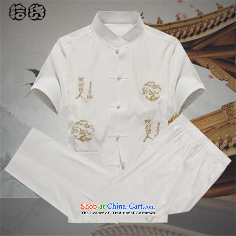 Hirlet Ephraim men_ 2015 Mr Ronald Tang Dynasty Package summer short-sleeved of older persons in the elderly men's father short-sleeved T-shirt and a pair of casual pants kit grandpa male Tang dynasty white A,�5