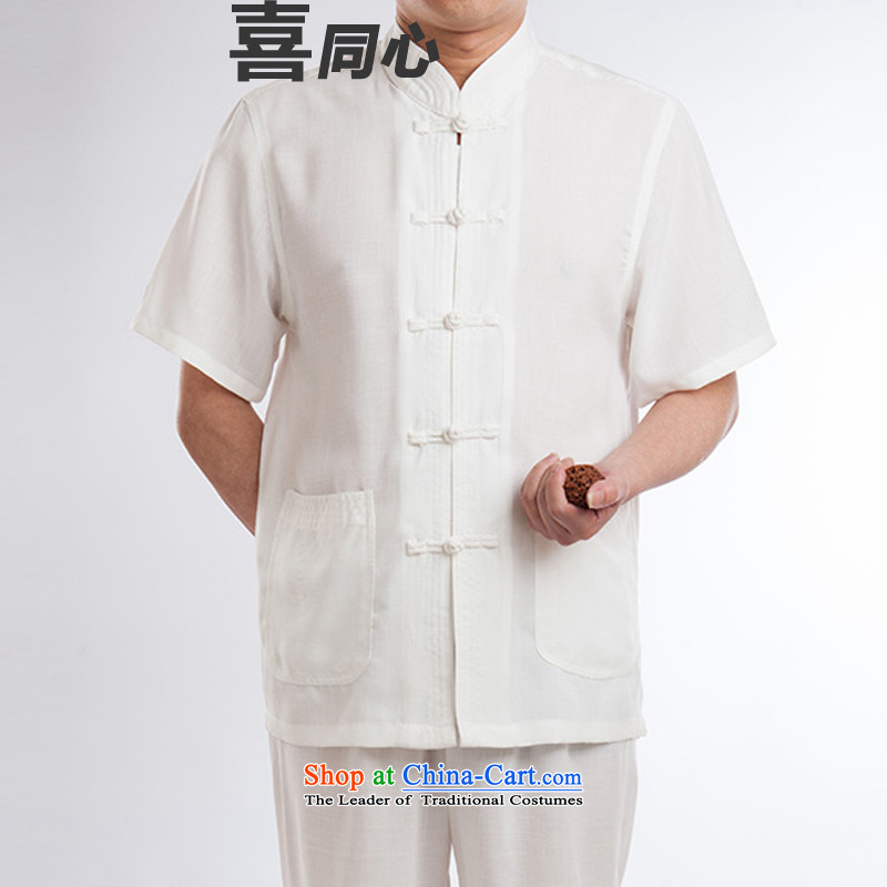 Tang Dynasty Package Short-Sleeve Men linen tai chi services cotton linen flax martial arts services practice suits meditation ball-service leisure Tang blouses men kit half sleeve white men聽170
