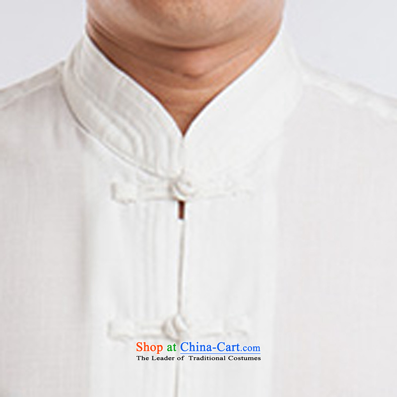 Tang Dynasty Package Short-Sleeve Men linen tai chi services cotton linen flax martial arts services practice suits meditation ball-service leisure Tang blouses men kit half sleeve white men聽170, ink-YI (MORE shopping on the Internet has been pressed.