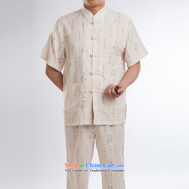 Men Tang Dynasty Package summer cotton linen tunic men short-sleeved breathability and comfort casual beige set of聽175