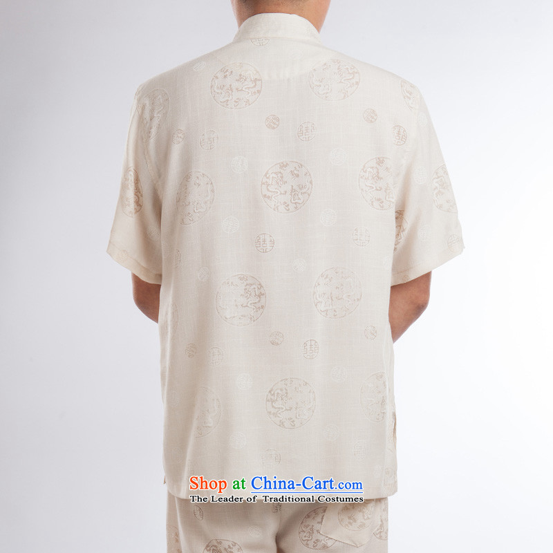 Flax men Tang Dynasty Package China wind short-sleeved pants summer load tray clip collar manually retro Chinese national costumes of a set of聽185 ink-beige (MORE YI shopping on the Internet has been pressed.)
